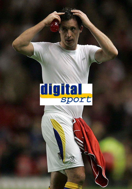 Photo: Paul Thomas.<br /> Liverpool v Cardiff City. Carling Cup. 31/10/2007.<br /> <br /> Robbie Fowler of Cardiff signals to his fans after the game.