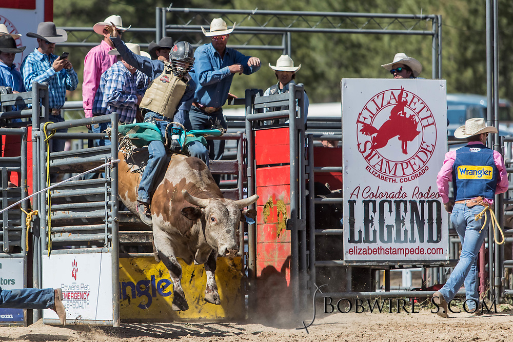 Bull rider JorDee Nielsen rides Salt River Rodeo's 367 Cowboy Cadillac in the first performance of the Elizabeth Stampede on Saturday, June 2, 2018.