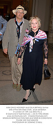 Artist DAVID HOCKNEY and CELIA BIRTWELL former wife of the late Ossie Clark,  at an exhibition in London on 14th July 2003.PLL 4
