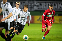 Luka Bobičanec of Mura and Tilen Pečnik of Aluminij during football match between NŠ Mura and NK Aluminij in 17th Round of Prva liga Telekom Slovenije 2019/20, on November 10, 2019 in Fazanerija, Murska Sobota, Slovenia. Photo by Blaž Weindorfer / Sportida