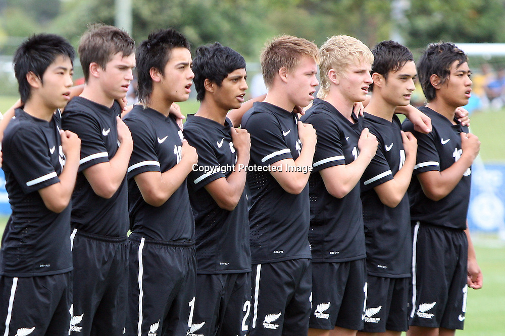 New Zealand during the national anthem. OFC U-17 Men's Championship New Zealand 2011, New Zealand v Tahiti, North Harbour Stadium Albany, Wednesday 19 January 2011. Photo: Ella Brockelsby / photosport.co.nz