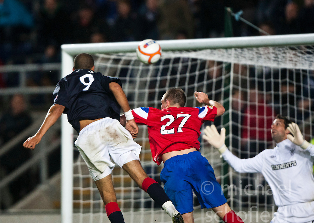 Falkirk's Farid El Alagui scoring their second goal..Falkirk 3 v 2 Rangers..©Pic : Michael Schofield.