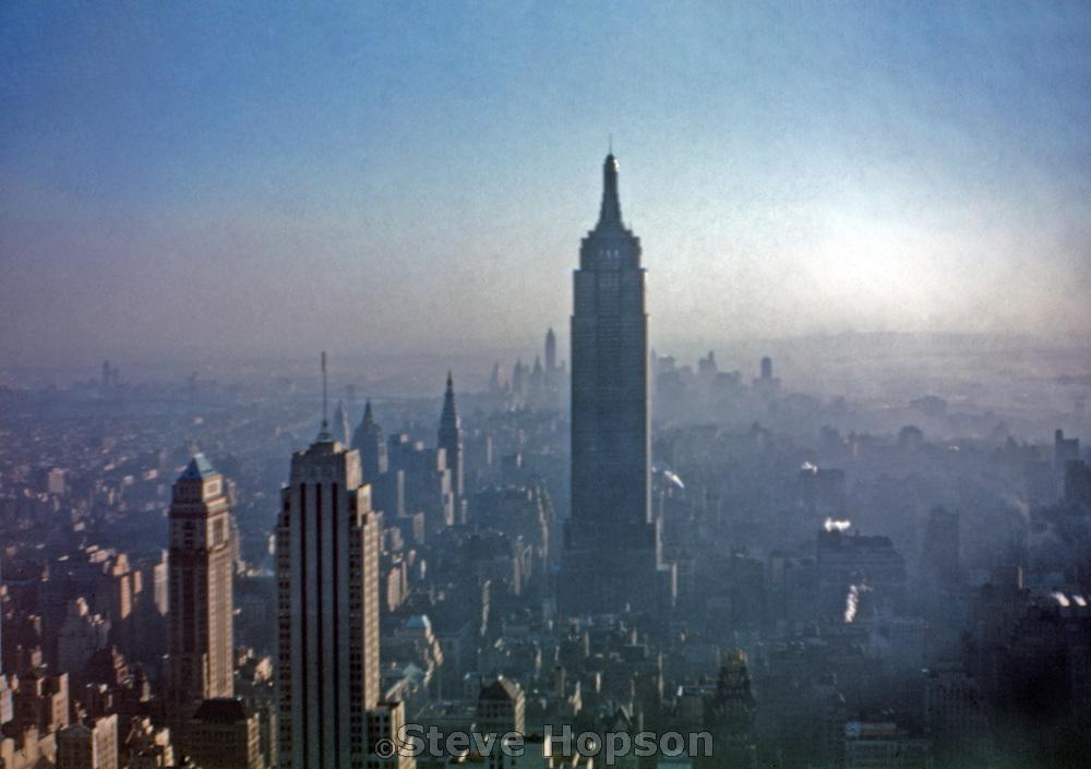 new york city skyline from rca building 1947 steve hopson. Black Bedroom Furniture Sets. Home Design Ideas