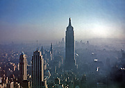 The Empire State Building and the New York City Skyline as seen from the RCA Building in 1947.