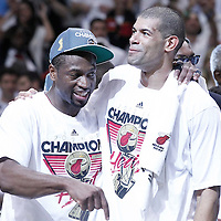 21 June 2012: Miami Heat shooting guard Dwyane Wade (3) celebrates with Miami Heat small forward Shane Battier (31) after the Miami Heat 121-106 victory over the Oklahoma City Thunder, in Game 5 of the 2012 NBA Finals, at the AmericanAirlinesArena, Miami, Florida, USA. The Miami Heat wins the series 4-1.