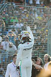 March 16, 2019 - Melbourne, Victoria, Australia - Lewis Hamilton of Great Britain and Mercedes celebrates taking pole position after qualifying for the Australian Formula 1 Grand Prix at Albert Park on March 16, 2019 in Melbourne, Australia  (Credit Image: © Morgan Hancock/NurPhoto via ZUMA Press)