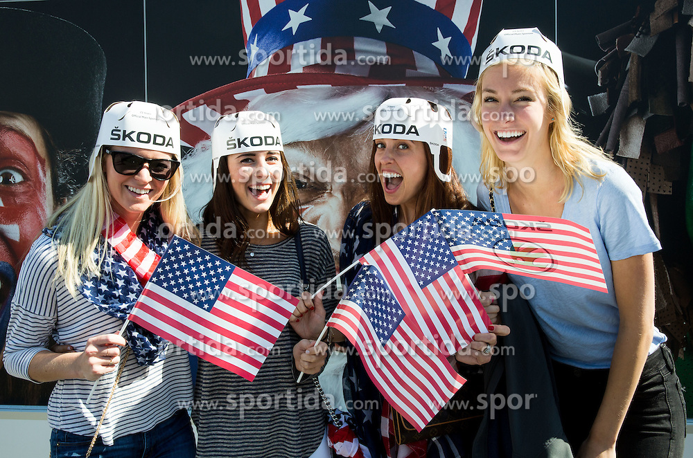 Fans of USA prior to the Ice Hockey match between Slovenia and USA at Day 10 in Group B of 2015 IIHF World Championship, on May 10, 2015 in CEZ Arena, Ostrava, Czech Republic. Photo by Vid Ponikvar / Sportida