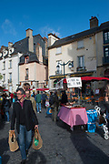 Rennes, FRANCE. General View GV. Rennes weekly regional market. Brittany,<br /> <br />  Stalls in the open and covered market  <br /> <br /> Saturday  26/04/2014 <br /> <br /> © Peter SPURRIER, <br /> <br /> NIKON CORPORATION  NIKON D700  f5.6  1/400sec  24mm  1.0MB