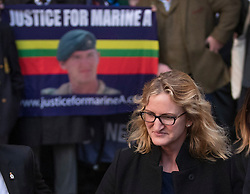 © Licensed to London News Pictures. 16/12/2016. London, UK. Claire Blackman, wife of Sgt Alexander Blackman, leaves The High Court after attending a bail hearing. Sgt Alexander Blackman is currently serving a life sentence after being convicted of murdering a wounded Taliban fighter in Afghanistan in 2011. Photo credit: Peter Macdiarmid/LNP
