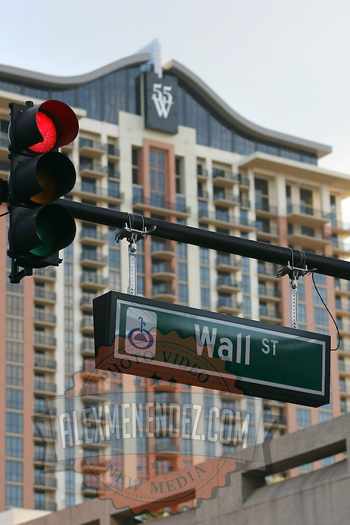 A Wall Street sign in downtown Orlando during an Occupy Orlando public demonstration in support of Occupy Wall Street gatherings across the country, at the Orange County History Center on Wednesday, October 5, 2011 in Orlando, Florida. (AP Photo/Alex Menendez)