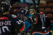 KELOWNA, CANADA - OCTOBER 26:  Rodney Southam #17 of the Kelowna Rockets celebrates the goal with Conner Bruggen-Cate #20 of the Kelowna Rockets at the Kelowna Rockets game on October 26, 2016 at Prospera Place in Kelowna, British Columbia, Canada.  (Photo By Cindy Rogers/Nyasa Photography,  *** Local Caption ***