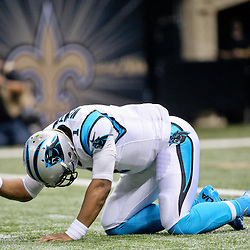 Dec 6, 2015; New Orleans, LA, USA; Carolina Panthers quarterback Cam Newton (1) reacts after he is unable to complete a pass on third down during the first quarter of a game against the New Orleans Saints at Mercedes-Benz Superdome. Mandatory Credit: Derick E. Hingle-USA TODAY Sports