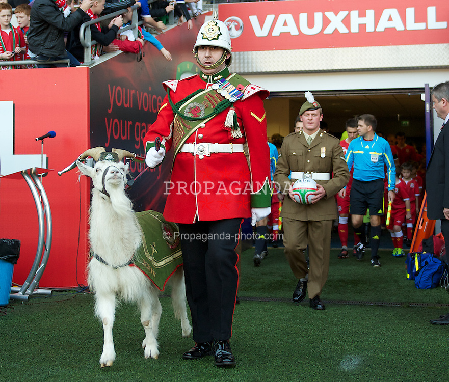 CARDIFF, WALES - Saturday, November 12, 2011: A soldiers with a goat before the international friendly match between Wales and Norway at the Cardiff City Stadium. (Pic by David Rawcliffe/Propaganda)