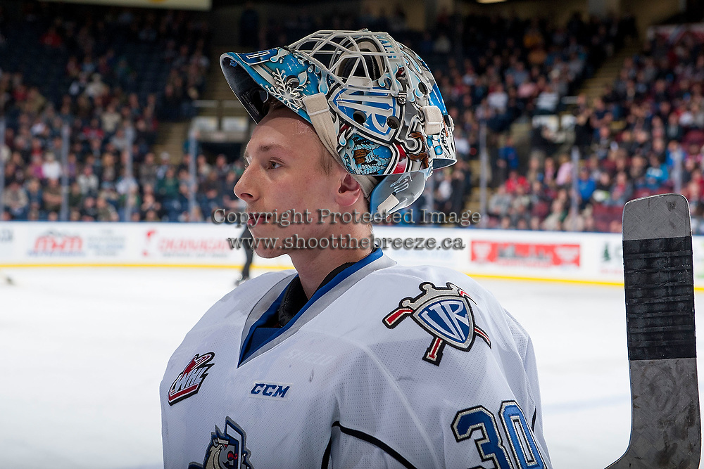 KELOWNA, CANADA - OCTOBER 4:  Griffen Outhouse #30 of the Victoria Royals stands at the bench during a time out against the Kelowna Rockets on October 4, 2017 at Prospera Place in Kelowna, British Columbia, Canada.  (Photo by Marissa Baecker/Shoot the Breeze)  *** Local Caption ***