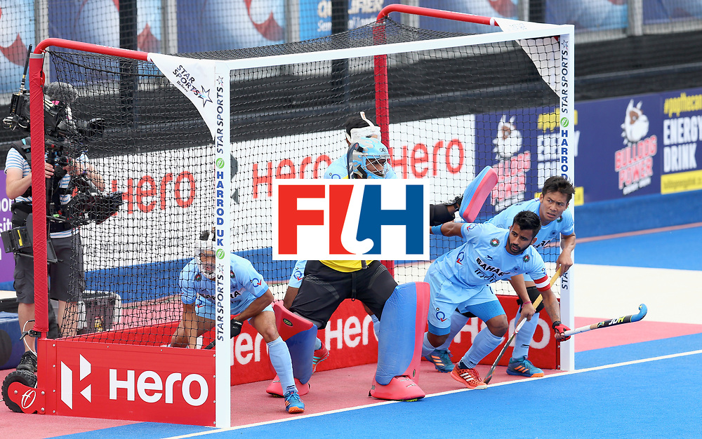 LONDON, ENGLAND - JUNE 25: India players prepare for a penalty corner during the 5th/6th place match between India and Canada on day nine of the Hero Hockey World League Semi-Final at Lee Valley Hockey and Tennis Centre on June 25, 2017 in London, England. (Photo by Steve Bardens/Getty Images)