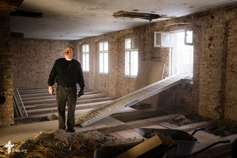 LCMS President Rev. Dr. Matthew C. Harrison tours the Old Latin School reconstruction on Wednesday, Jan. 29, 2014, in Wittenberg, Germany. LCMS Communications/Erik M. Lunsford
