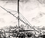 Hevelius's 150-ft  (16.240m) telescope being erected at Gdansk.  From 'Selenographia' by Johannes Hevelius (Gedani, Gdansk, Danzig,  1647).   Engraving.