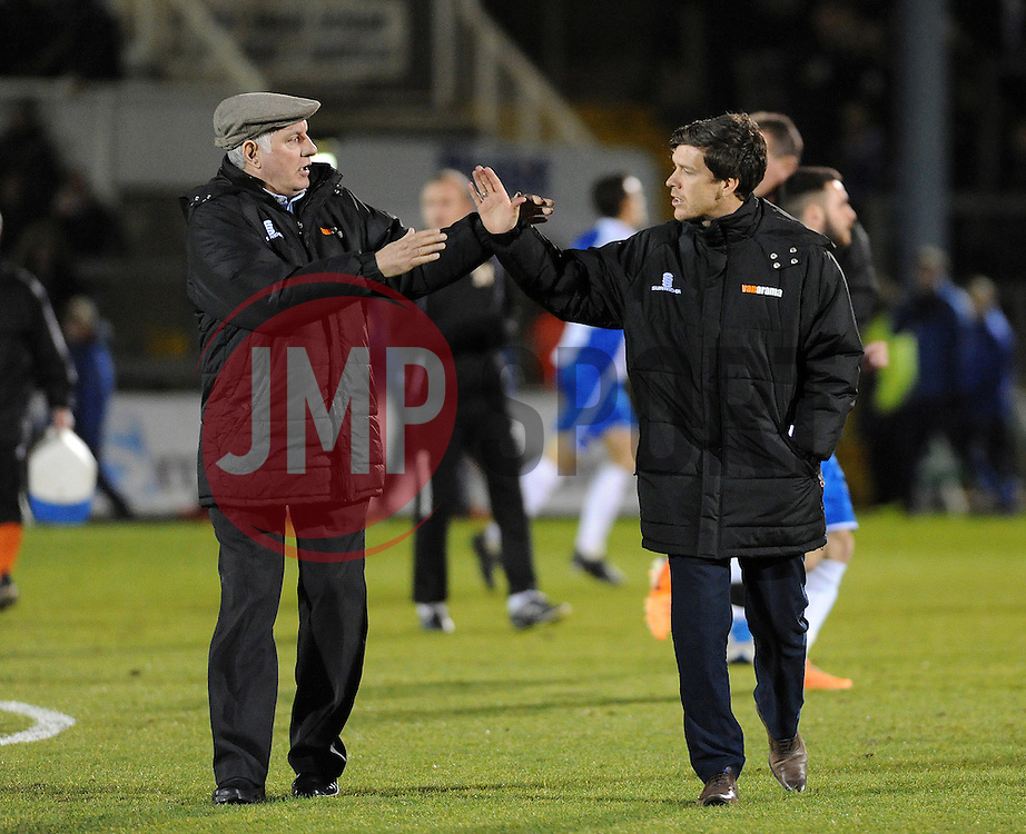 Braintree Town Manager, Alan Devonshire (L) and Bristol Rovers Manager, Darrell Clarke (R) - Photo mandatory by-line: Neil Brookman/JMP - Mobile: 07966 386802 - 24/02/2015 - SPORT - Football - Bristol - Memorial Stadium - Bristol Rovers v Braintree - Vanarama Football Conference