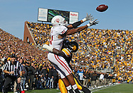 October 22, 2011: Indiana Hoosiers wide receiver Duwyce Wilson (81) can't pull in a pass as Iowa Hawkeyes defensive back B.J. Lowery (19) defends during the second half of the NCAA football game between the Indiana Hoosiers and the Iowa Hawkeyes at Kinnick Stadium in Iowa City, Iowa on Saturday, October 22, 2011. Iowa defeated Indiana 45-24.