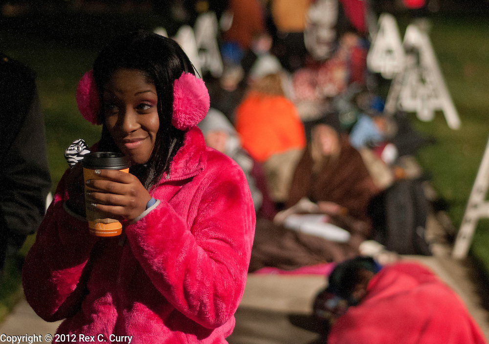 """Jazmynn C. Robinson, from Jacksonville, Ark. waits in the early morning cold to audition for """"So You Think You Can Dance"""" at SMU on Friday, Jan. 13, 2012."""