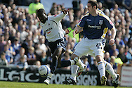 Swansea City's Nathan Dyer scores the opening goal. Coca Cola Championship match, Cardiff City v Swansea City at Ninian Park, Cardiff on Sunday 5th April 2009. pic by Andrew Orchard, Andrew Orchard sports photography.