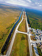 Aerial of US 27 going north along Everglades