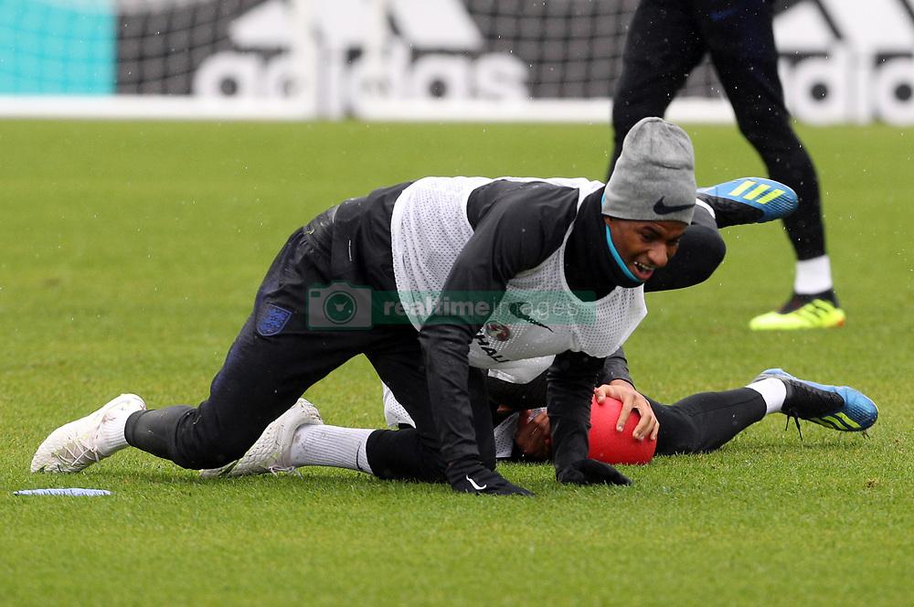 England's Marcus Rashford during a training session at Spartak Zelenogorsk Stadium.