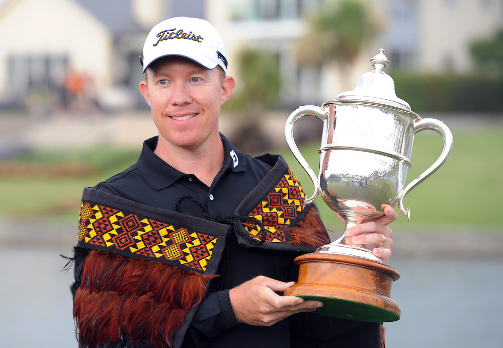 Queensland's Brad Kennedy with the trophy after winning the BMW New Zealand Golf Open, Clearwater, Christchurch, New Zealand, Sunday, December 04, 2011. Credit:SNPA / Ross Setford