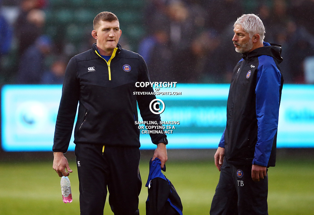 Stuart Hooper (General Manager) of Bath Rugby with Todd Blackadder (Director of Rugby) of Bath Rugby during the Gallagher Premiership match between Bath Rugby and Sale Sharks at the The Recreation Ground Bath England.2nd December 2018,(Photo by Steve Haag Sports)