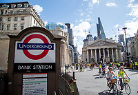 Riders pass the Royal Exchange and Bank Tube Station as part of the Prudential RideLondon FreeCycle 29/07/2017.<br />