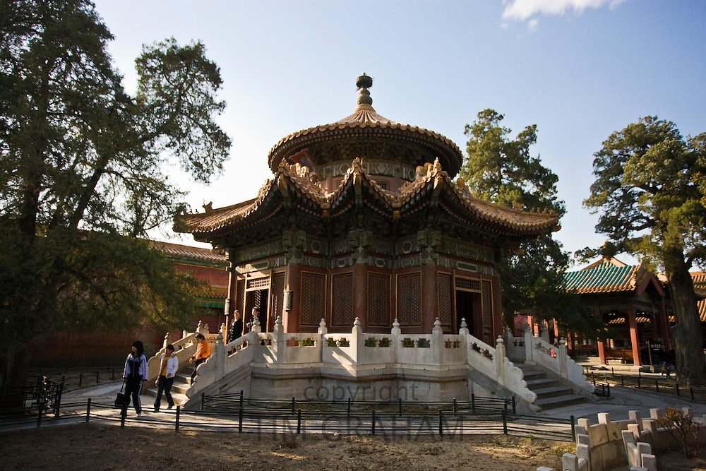 Tourists at the Pavilion of a Thousand Autumns in the Imperial Gardens, Forbidden City, Beijing, China