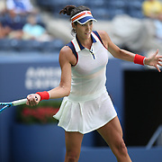 2017 U.S. Open - August 28. DAY ONE. Garbine Muguruza of Spain in action against Varvara Lepchenko of the United States on Arthur Ashe Stadium during the Women's Singles round one during the US Open Tennis Tournament at the USTA Billie Jean King National Tennis Center on August 28, 2017 in Flushing, Queens, New York City. (Photo by Tim Clayton/Corbis via Getty Images)