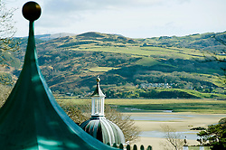 Dome and detailed roof at Portmeirion village, designed and built by Sir Clough Williams-Ellis, Gwynedd, Wales, UK
