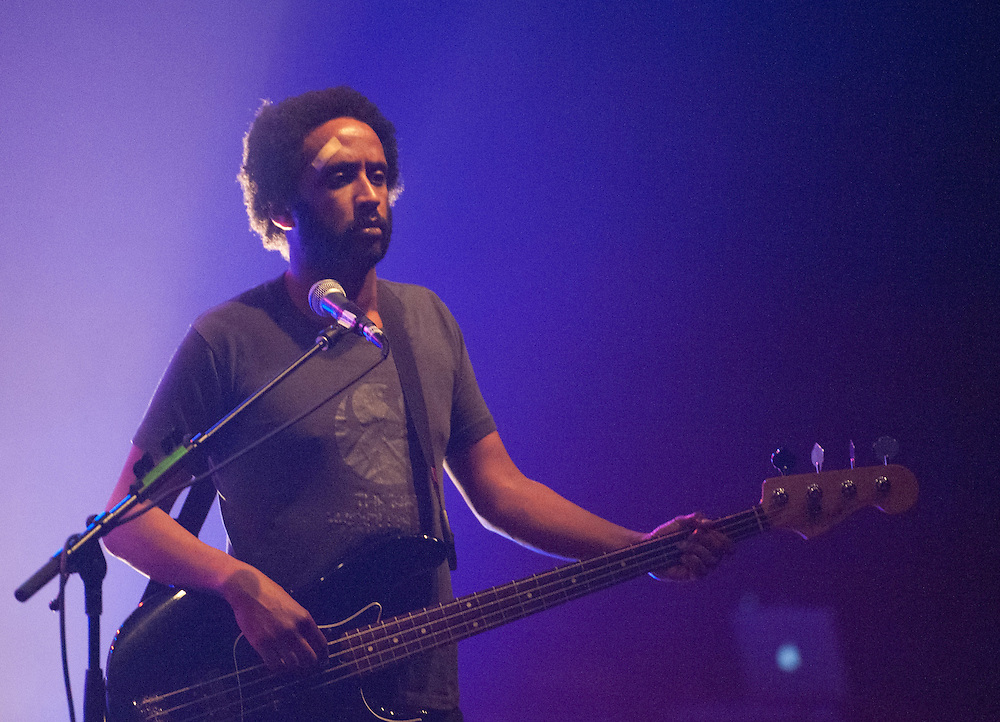 Elbow's Guy Garvey performs at the Wiltern during the band's set Wednesday.