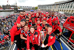 Bristol City players and Bristol City manager, Steve Cotterill have with the Sky Bet League One Trophy on the bus in front of thousands of fans gathered at the amphitheatre in Bristol  - Photo mandatory by-line: Joe Meredith/JMP - Mobile: 07966 386802 - 04/05/2015 - SPORT - Football - Bristol -  - Bristol City Celebration Tour