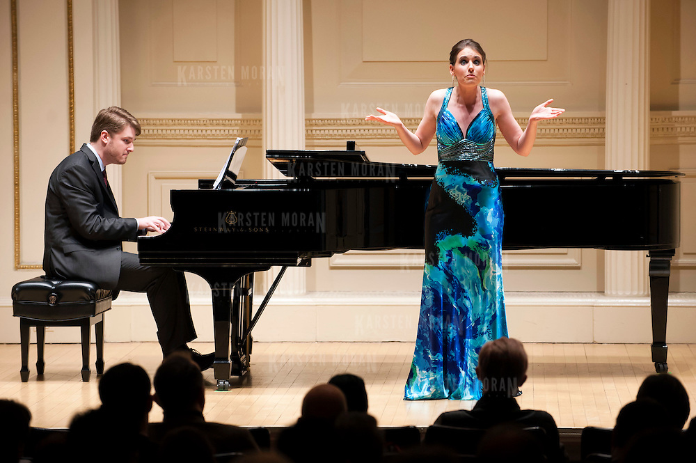 """March 12, 2013 - New York, NY : Mezzo-Soprano Naomi O'Connell, in blue, along with pianist Brent Funderburk perform """"Witches, Bitches & Women in Britches"""" at Carnegie Hall's Weill Recital Hall on Tuesday evening. CREDIT: Karsten Moran for The New York Times"""