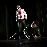 October 3, 2012 - Brooklyn, NY : Serge Maggiani and Hugues Quester, foreground, perform in a technical rehearsal of the Théâtre de la Ville's production of French-Romanian playwright Eugène Ionesco's 1959 play 'Rhinocéros' at BAM in Brooklyn on Wednesday night. The traveling production will perform from Oct. 4-6, 2012. CREDIT: Karsten Moran for The New York Times