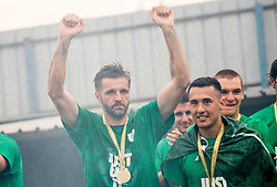 Igor Biscan, head coach of NK Olimpija Ljubljana celebrates with a medal after they became Slovenian National Champion 2018 after the football match between NK Domzale and NK Olimpija Ljubljana in 36th Round of Prva liga Telekom Slovenije 2017/18, on May 27, 2018 in Sports park Domzale, Domzale, Slovenia. Photo by Vid Ponikvar / Sportida