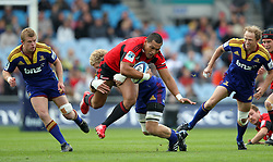 Robbie Fruean on the charge for the Crusaders..Investec Super Rugby - Highlanders v Crusaders, 19 March 2011, Carisbrook Stadium, Dunedin, New Zealand..Photo: Rob Jefferies / www.photosport.co.nz