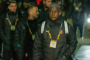 James Lea Siliki (12) of Rennes arrives at Celtic Park ahead of the Europa League match between Celtic and Rennes at Celtic Park, Glasgow, Scotland on 28 November 2019.