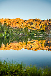 """""""Lower Rock Lake 2"""" - Photograph of Lower Rock Lake in the back country of the Tahoe National Forest, shot near sunset."""