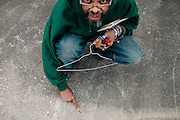 Lonnie Holley creates art from found objects. He and his art are seen in Atlanta, Georgia, December 12, 2012.