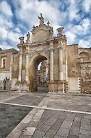 Aperta sul braccio delle mura orientali della città, Porta Rudiae è la più interessante e antica delle porte di Lecce, quella che volgeva verso l'antica città distrutta di Rudiae, da cui prese il nome. Si trova in via Adua, in prossimità dell'intersezione tra viale dell'Università e via Dalmazio Birago. Sorta sulle rovine di una porta più antica crollata verso la fine del XVII secolo, Porta Rudiae fu ricostruita nel 1703 dal nobile leccese Prospero Lubelli. La porta è costituita da un unico fornice, affiancato da due colonne per lato che poggiano su di un podio e che sorreggono un fregio in cui sono collocati i busti dei mitici fondatori della città: Malennio, Dauno, Euippa e Idomeneo..Tale porta, detta anche di sant'Oronzo, è sormontata dalla statua del santo, protettore di Lecce, e da quelle degli altri protettori della città santa Irene e san Domenico. Un'epigrafe latina ricorda come la porta fu ricostruita per legato del leccese Prospero Lubelli sotto il sindaco Cesare Belli.