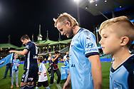 SYDNEY, AUSTRALIA - APRIL 06: Sydney FC defender Rhyan Grant (23) walks onto the field at round 24 of the Hyundai A-League Soccer between Sydney FC and Melbourne Victory on April 06, 2019, at The Sydney Cricket Ground in Sydney, Australia. (Photo by Speed Media/Icon Sportswire)
