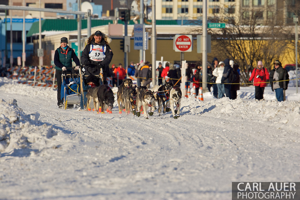 March 7th, 2009:  Anchorage, Alaska: Jake Berkowitz of Anchorage, Alaska at the start of the 2009 Iditarod race.