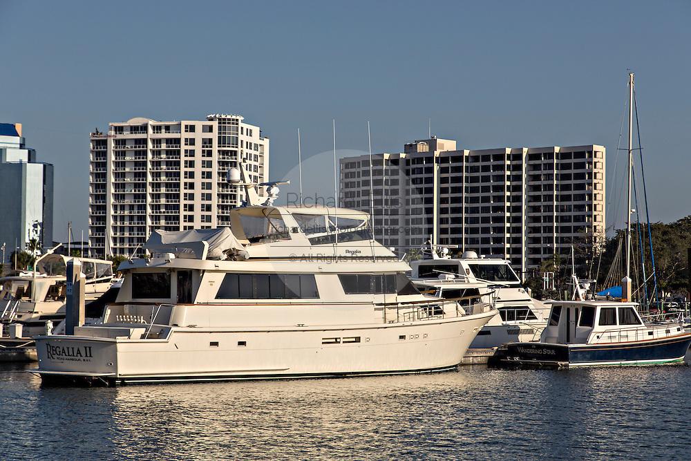 View of downtown Sarasota Florida and Bayfront Park Marina.