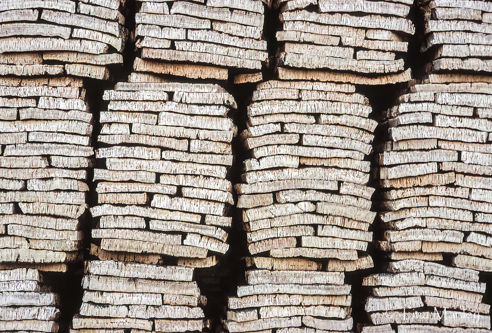 Stacks of cork harvested in Portugal.