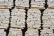 Stacks of cork harvested in Portugal.