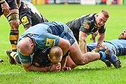 Wasps scrum half Dan Robson (9) scores a try during the Aviva Premiership match between Wasps and London Irish at the Ricoh Arena, Coventry, England on 4 March 2018. Picture by Dennis Goodwin.