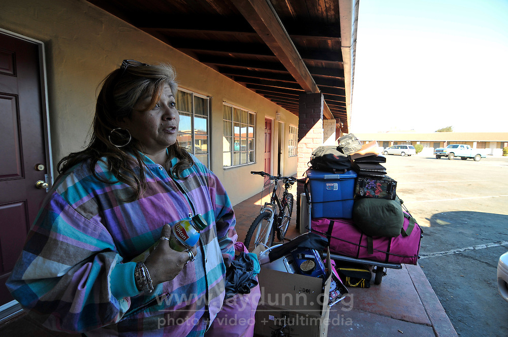 Homeless advocate Rita Acosta talks about her tenuous living situation by her former room at the Star Motel on North Main Street in Salinas.